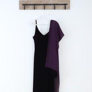 Betsey & Adam Jaslene retro velvet dress w shawl